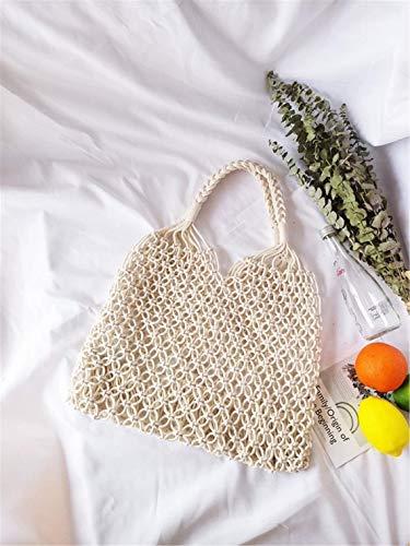 ecofynd Men's and Women's Macrame Cotton Shoulder Bag | Rope Grocery Fruit Handbag | Washable Organic Eco Friendly Shoulder Vegetable Shopping Woven Bag (Off White)