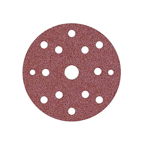 MioTools Fox Dischi abrasivi velcrati, 150 mm, 15 fori, Grana 80, p. Levigatrici rotorbitali (50 Pz.)