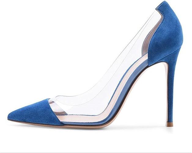 SHINIK Femmes Chaussures Printemps été PVC Couture Pointu à Talons Chaussures Stiletto Talon Pour Fête De Mariage et Soirée