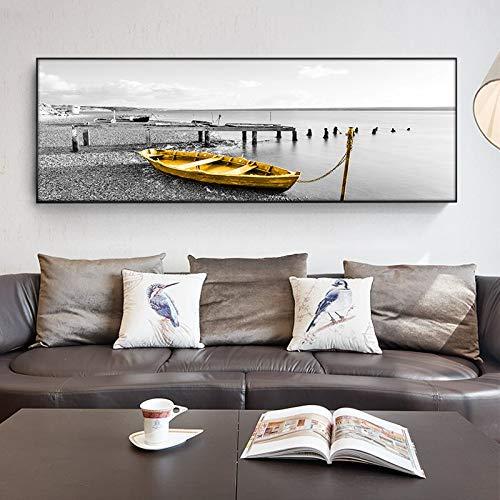 wZUN Barco Dorado Natural Puente de Madera Negro Paisaje Lienzo Pintura Carteles e Impresiones Mural para Sala de Estar 50x150cm
