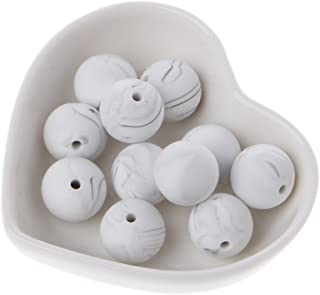 Biuuu 10シリコーン大理石の白い歯のビーズ、赤ちゃんを噛むビーズ赤ちゃんの歯のゲルのおもちゃ