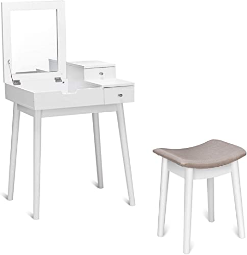 discount Giantex Vanity Table Set with Flip Top Mirror and Cushioned Stool, Folding Top Flip Mirrored Large Storage Organizer for Home Bedroom Bathroom, Makeup Dressing outlet sale Table Set with 2 outlet sale Drawers, White online sale