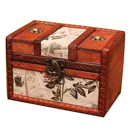 Maleta Vintage, Protector de Esquina de Metal con diseño de Hebilla Accesorios de fotografía de Tienda de cosméticos de joyería Madera, 8 Estilos 2 tamaños GGYMEI (Color : Brown-c, Size : 14x9x9cm)
