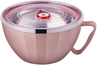 Lunch Box Instant Noodle Bowl Lid Bento-boxes Ramen Noodles Cup Containers Stainless Steel Fast Food Oat Home Office Girls Small Pink