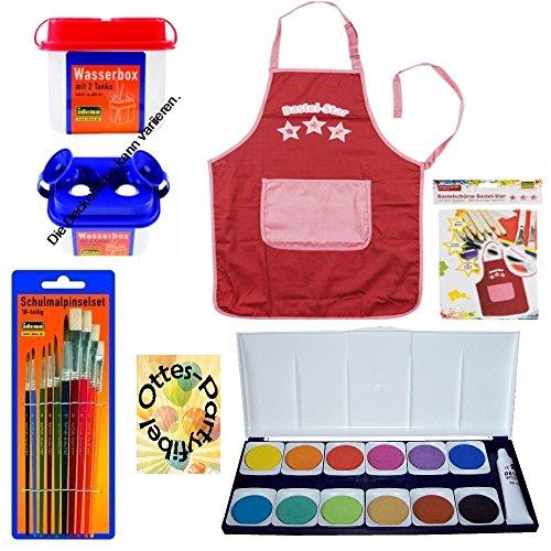 Set Schule Füllung Schultüte Farbkasten Pinsel Wasserbox Bastelschürze/Werkschürze rot