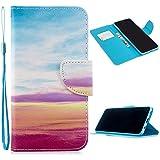 Miagon Full Body Cover Hülle für Samsung Galaxy S8,Bunt Muster Design PU Leder Handyhülle Klapphülle Schutzhülle mit Karten Steckfächern Standfunktion,Regenbogen Wolke