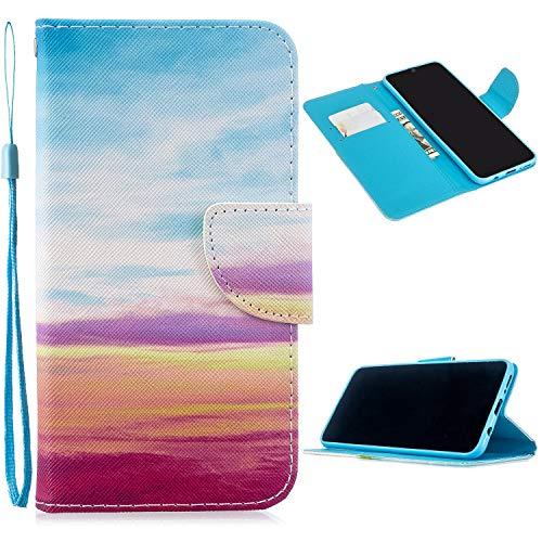 Miagon Full Body Cover Hülle für Xiaomi Redmi 7A,Bunt Muster Design PU Leder Handyhülle Klapphülle Schutzhülle mit Karten Steckfächern Standfunktion,Regenbogen Wolke