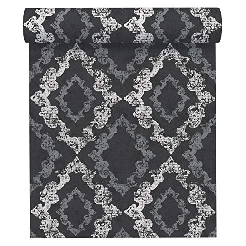 A.S. Création Vliestapete Memory 3 Tapete neo-barock 10,05 m x 0,53 m metallic schwarz weiß Made in Germany 329895 32989-5