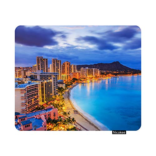 Nicokee Gaming Mouse Pad Honolulu Hawaii Skyline of Diamond Head Volcano Including The Hotels and Buildings on Waikiki Beach Non-Slip Rubber Mouse Pad for Computers, Office 9.5 Inch x 7.9 Inch