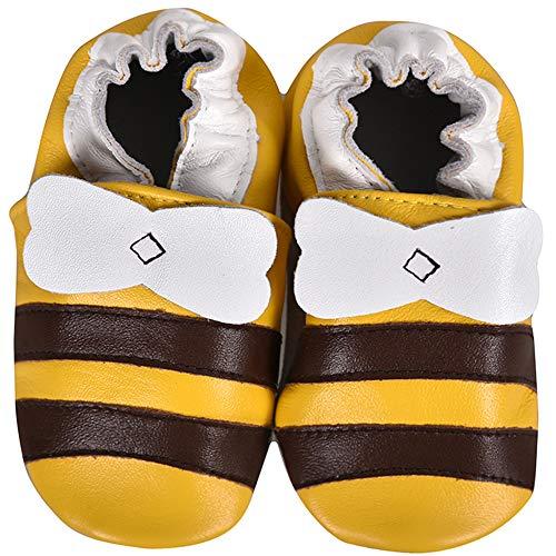 SUADEX Krabbelschuhe Leder Lauflernschuhe Jungen Mädchen Baby Weicher Babyschuhe 0-24 Monate Kleinkind Hausschuhe mit Wildledersohlen,Gold Kleine Biene,6-12 Monate