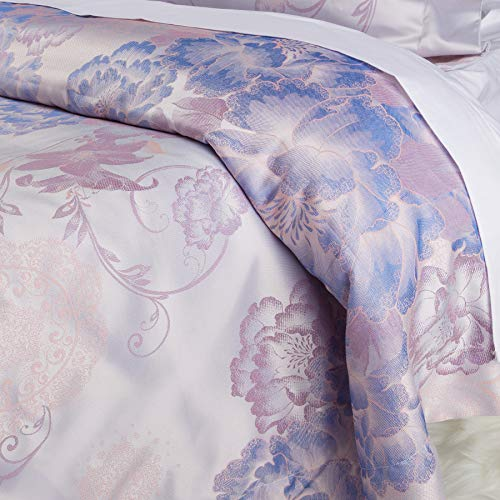 Luxurious Duvet Cover Sets Cotton Rich Silky Woven Jacquard Breathable Stain and Fade Resistant Memories of Italy (Portofino, Queen)