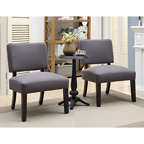 Furniture of America Rise Transitional Upholstered Accent Chair and Round Table Set, Gray