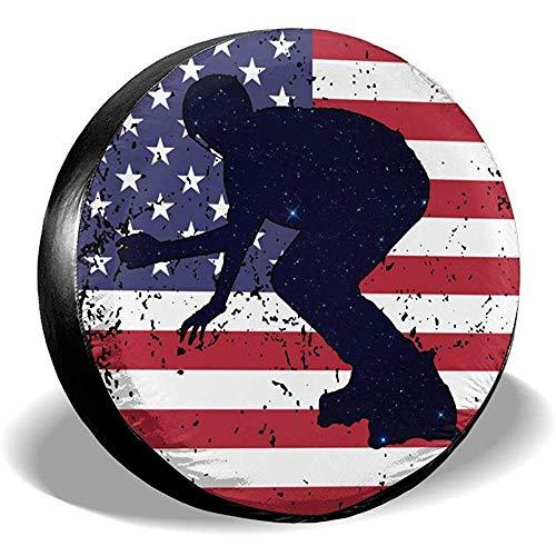Olive Croft Amerikanische Flagge Inline-Skating Reifen umfasst Auto SUV Travel Trailer Reserverad Radzierblenden 15 Zoll