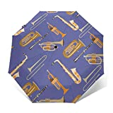 FPZGNIE Wind Musical Saxophone Clarinet Trumpet Trombone and Tuba Sun&Rain Umbrella Portable Lightweight