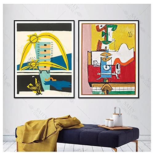 Cartel de Arte de Le Corbusier, Pintura al óleo de cubismo Surrealista, Carteles e Impresiones, impresión de Fondo de sofá en Lienzo, 50x70cmx2 sin Marco