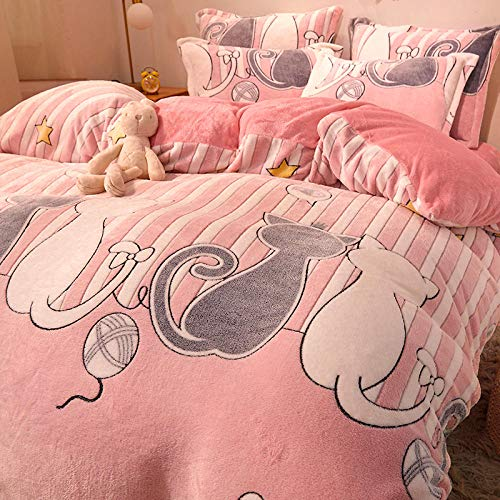 Bedding Duvet Cover 3 Piece Set,Winter thick bed flannel double-sided fleece single bed single quilt cover king size bedding-O_1.2M bed (4 pieces)