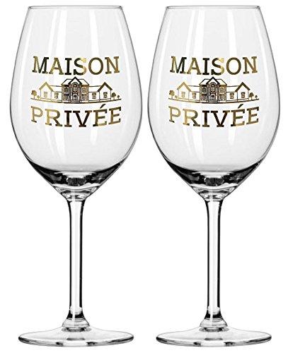 Prime Presents 2er Set Weingläser mit Echtgold farbloses Kristallglas bauchig, groß, 540ml Emblem aus echtem Gold Wein Champagner Gläser XL XXL-Kelche Kristall Villa
