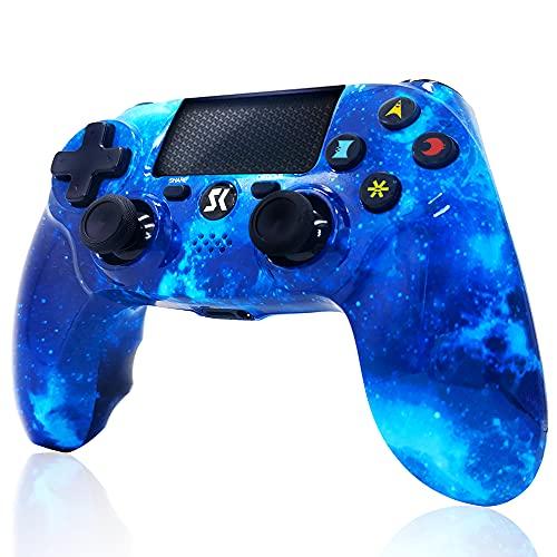 Mando inalámbrico para PS4, Controlador de Doble vibración de Alto Rendimiento Compatible con Playstation 4 / Pro/Slim/PC con función de Audio, Mini LED - Blue