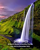 2021 - 2022 | 18 Month Weekly & Monthly Planner July 2021 to December 2022: Waterfall in Hawaii Monthly Calendar with U.S./UK/ ... Review/Notes 8 x 10 in.-Travel Beach Vacation