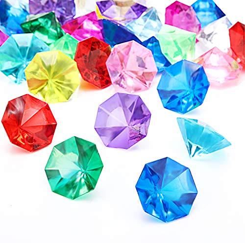 Acryl Diamant Edelsteine Juwelen Piraten Edelsteine Set Schatz Juwelen Truhenjagd Gastgeschenke, 25 Karat Mehrfarbige Acryl Große Edelsteine (30 Stücke)