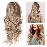 Peluca rubia rizada larga, pelucas onduladas sueltas ocre Pelucas sintéticas naturales, peluca de mujer resistente al calor y ajustable y duradera