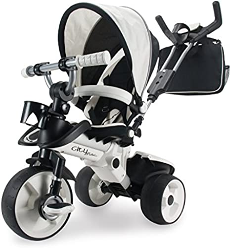 Dreirad in Silbern für Kinder ab 6 Monaten mit Sonnendach und Tasche Trike City Max