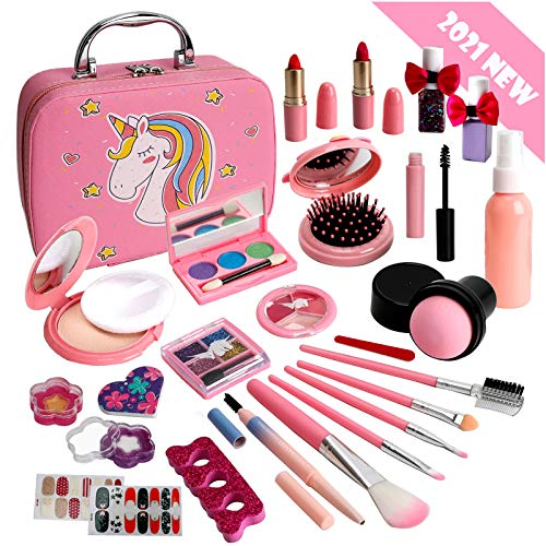 Flybay Kids Makeup Kit for Girls, Washable Makeup Set for Girl, Real Play Makeup Toys, Pretend Makeup Kit Girls Gift Toys with Cute Cosmetic Case for 5 6 7 8 Years Old Girls.