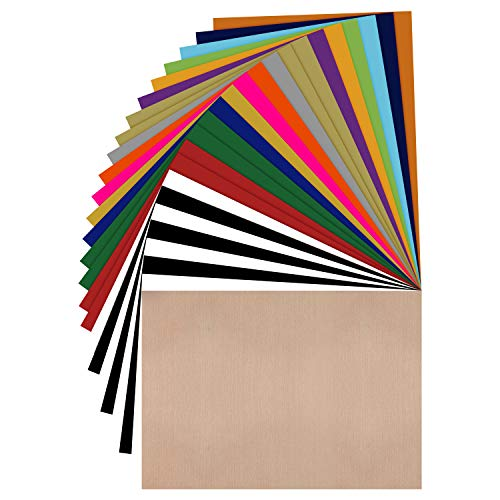 JANDJPACKAGING HTV-Vinyl-Bündel, 25,4 x 30,5 cm, verschiedene Farben, HTV-Vinyl, zum Aufbügeln für Cricut & Silhouette Cameo, Bonus Teflon für Wärmepressmaschine