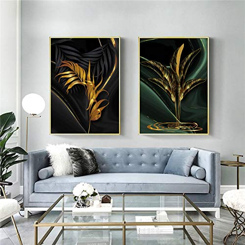 XIANGPEIFBH Canvas Painting Nordic Modern Gold and Green Leaves Fashion Style Art Print Poster Picture Wall Living Room Home Decor 40x60cmx2pcs Unframed