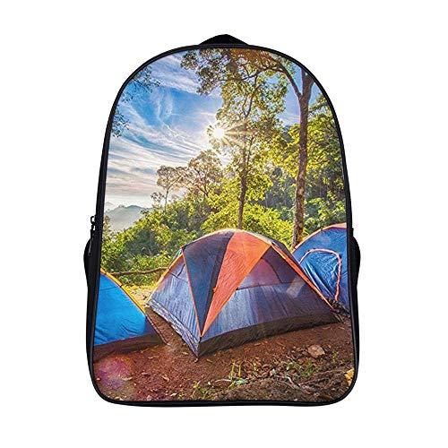 XIAHAILE Kompakte Rucksack Büchertasche für Männer und Frauen, leichter Rucksack für Schul und Urlaubsreisen,Camping Familienzelt Waldwandern