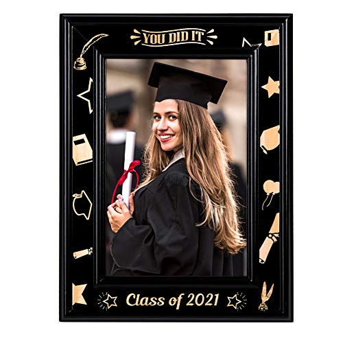 WaaHome You Did It Class of 2021 Graduation Picture frame, Wood Graduation Photo Frame, Graduation Gifts for High School College Graduates Her Him
