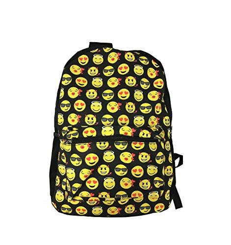Sonrisa Estilos Emoti - Mochila escolar diseño emoticonos - Bolsa de hombro - Mochila de viaje. (Negro)