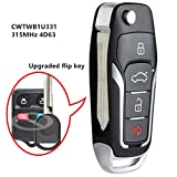 Beefunny Replacement Upgraded Flip Remote Car Key Fob 315MHz 4D63 Chip for Ford Lincoln Mercury CWTWB1U331