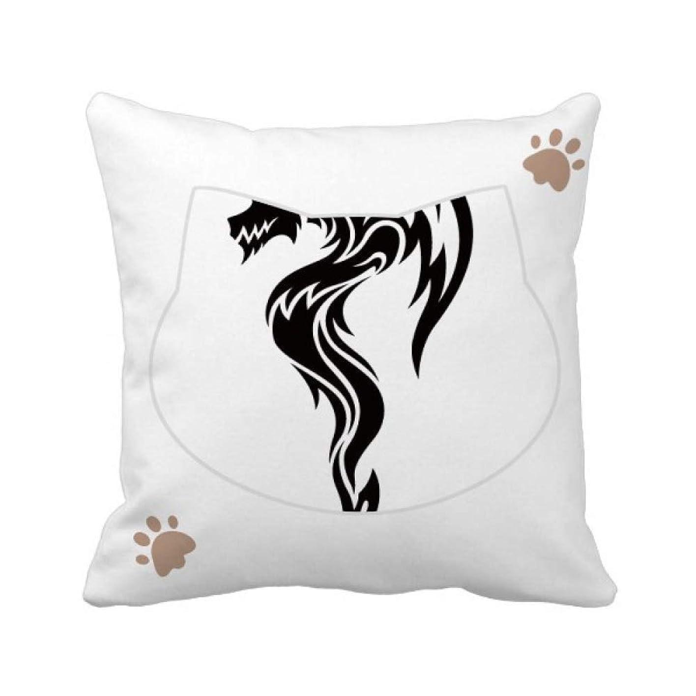 警察署有毒パスドラゴン?動物の芸術の穀物のシルエット 枕カバーを放り投げる猫広場 50cm x 50cm