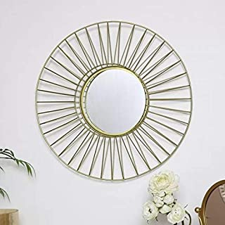 Logam Gold Polar Decorative Round Wall Mirror for Bedroom, 62 x 62 x 11 cm
