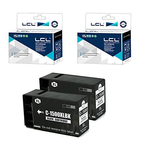 LCL Cartucho de Tinta Compatible PGI-1500 PGI-1500XL PGI-1500XLBK Pigment (2 Negro) Reemplazo para Canon MAXIFY MB2050 MB2150 MB2155 MB2350 MB2750 MB2755