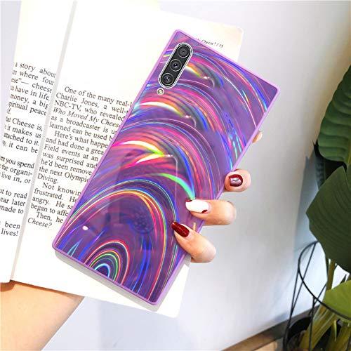Herbests Kompatibel mit Samsung Galaxy A50S Hülle Glitzer Glänzend Kristall Aurora Bunte Weich Silikon Handyhülle Ultra dünn Schutzhülle TPU Bumper Handytasche Crystal Case Cover,Lila