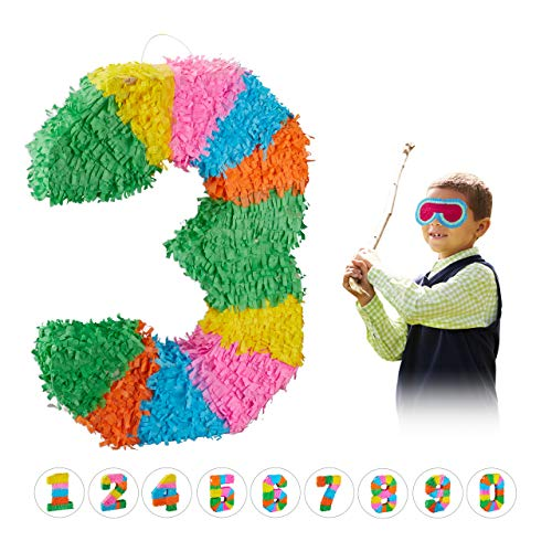 Relaxdays 10025189_905 Pinata Geburtstag, Zahl 3, zum Aufhängen, Kinder & Erwachsene, Papier, zum selbst Befüllen, Piñata, bunt