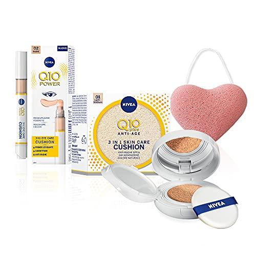 Nivea Q10 Plus Anti-Rughe Skin Care Cushion Crema Colorata Antietà 3 in1 & Eye Care Cushion Correttore per Occhiaie, in Omaggio la Spugna Konjac per la Pulizia e la Detersione del Viso