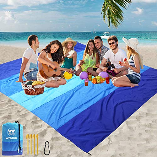 """WIWIGO Beach Blanket, Sandproof Beach Mat 79"""" X 83"""" for 4-7 Adults Waterproof Quick Drying Outdoor Picnic Mat for Travel, Camping, Hiking"""
