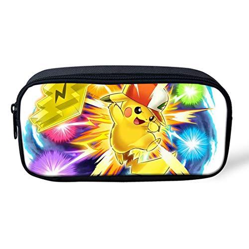 SpArt Pikachu - Estuche para lápices con cremallera, de tela de poliéster, bolsa para cosméticos, bolígrafo, rotulador, organizador con cremallera, gran capacidad para la escuela y la oficina