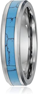6mm Tungsten Carbide Ring Silver Blue Turquoise Inlay Polish Beveled Edge Wedding Band 5-11