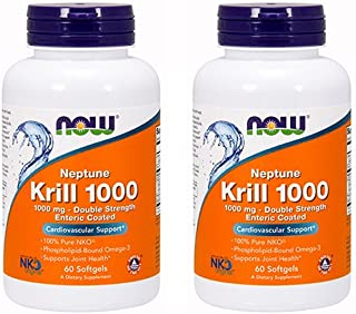 Now Foods Neptune Krill 1000 Fish Oil 1000 Milligram, 60 Softgels (2 Pack)
