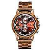RORIOS木製腕時計 メンズ 木材軽量石英腕時計 夜光機能 アナログ表示 日付 ウッドウォッチクオーツ ファッションウォッチ 木の時計 入学祝 就職祝 watch for men