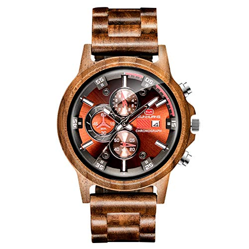 RORIOS Reloj de Madera Hombre Analógico Cuarzo Reloj Natural de Madera del Reloj Cronometro Fecha Pantalla Moda Hombres Relojes de Pulsera