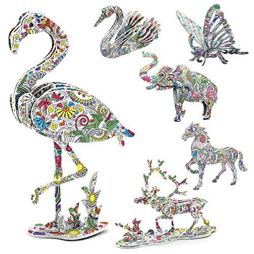 Puzzle 3D Arte, AivaToba 6 Pack 3D Color Puzzle Animale Jigsaw Puzzle da Colorare 3D con 12 Pennarelli Puzzle di Pittura 3D per Bambini Adulti Ragazze Ragazzi