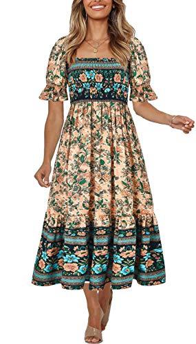 Women's Summer Bohemian Square Neck Floral Print Ruffle Vintage Flowy Beach Vacation Long Midi Boho Dress 16-M