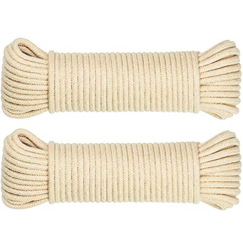 SteadMax 100ft Natural Cotton 3/16 Inch Rope for Sports & Outdoors, Heavy Duty General Purpose Rope Utility Cord, Ideal for Tents, Hammocks, Halters, Harnesses, Awnings (2 Pack, 50ft Each)