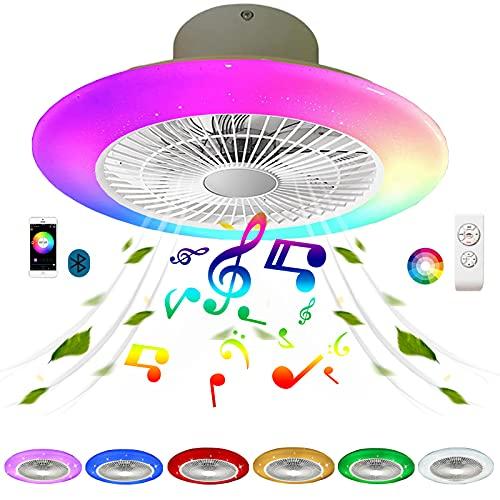 Lampara Ventilador Techo Tnfantil Silencioso con Mando a Distancia Cielo Estrellado Plafon Ventilador de Techo con Luz LED Iluminación RGB Colore Altavoz Bluetooth Música Regulable Circular Dormitorio
