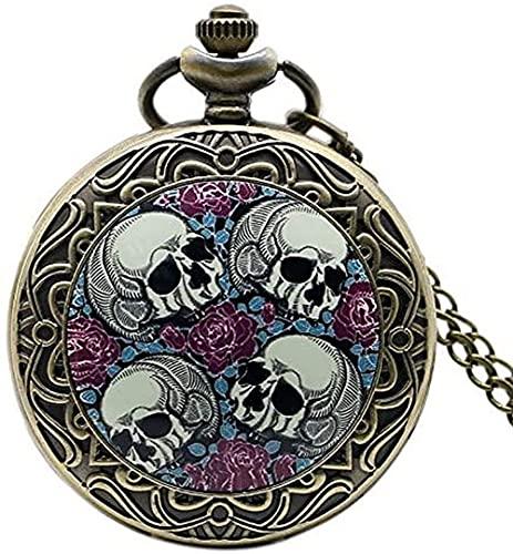 Reloj de Bolsillo Retro Four Skull Heads & amp Rose Reloj de Bolsillo con Cadena de Collar